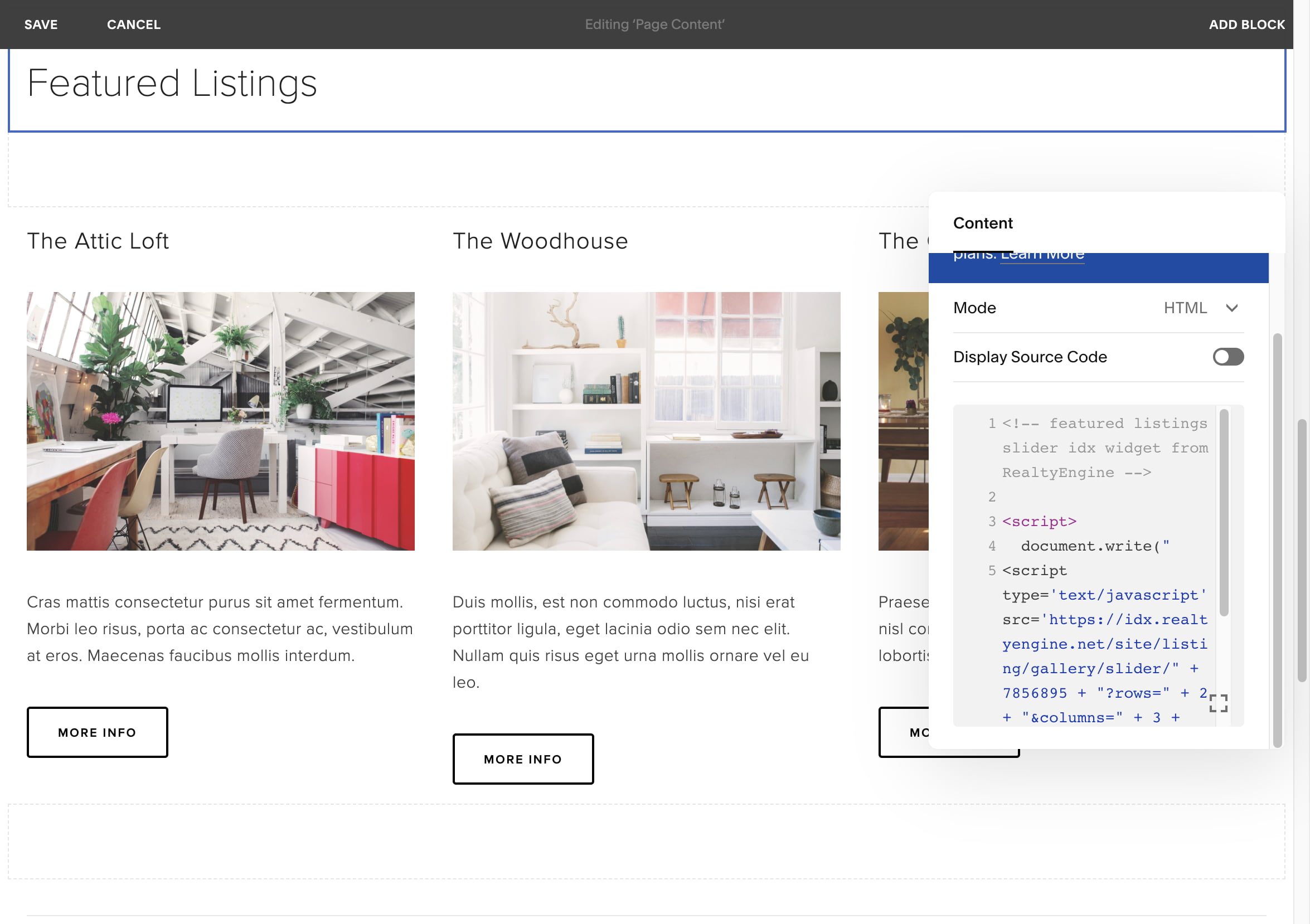 Screenshot of IDX added to a website