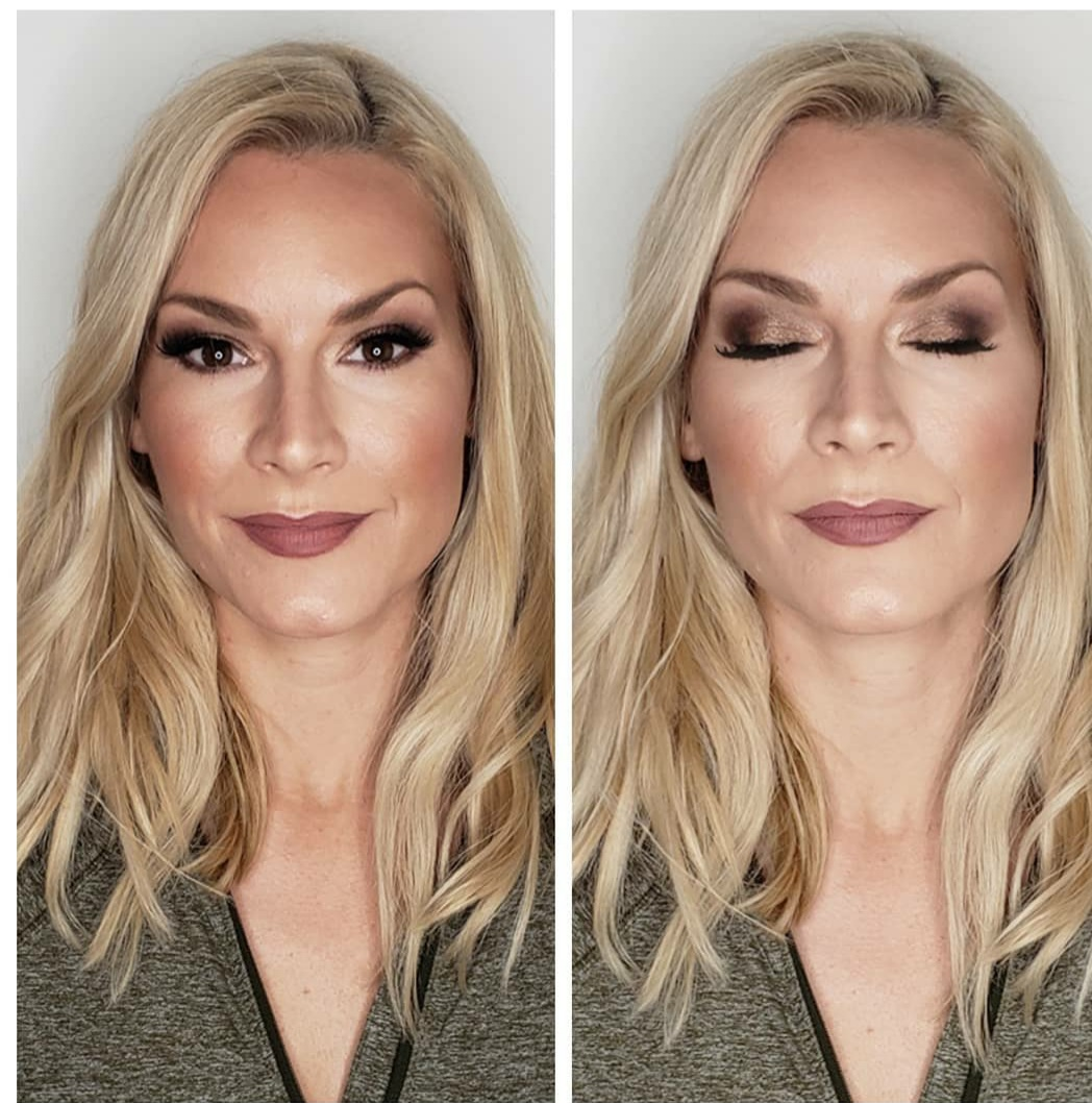 side by side makeup on fair skin blonde chic cosmetique Philadelphia