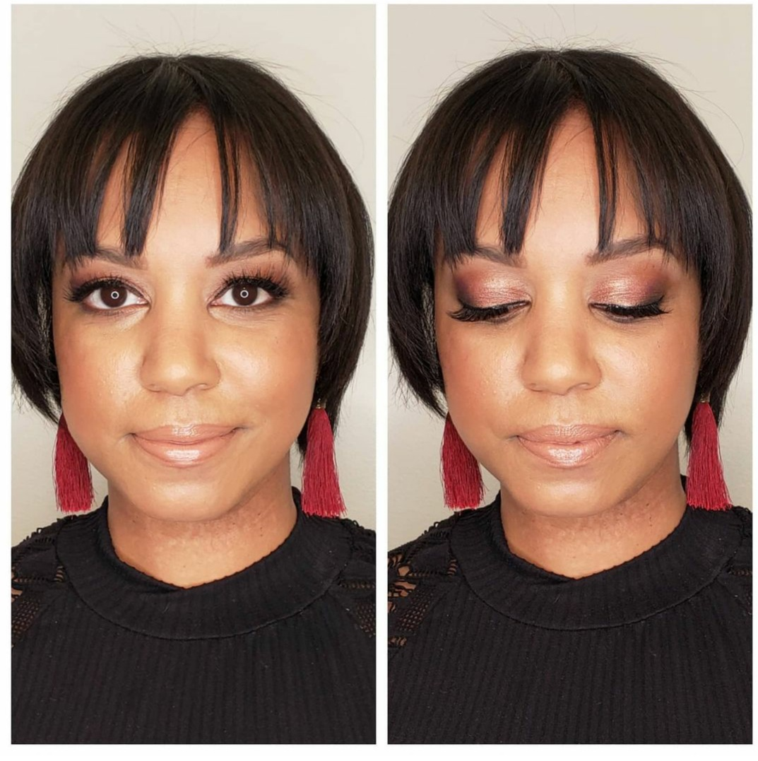 African American beauty makeup before & after Chic Cosmetique makeup & beauty services