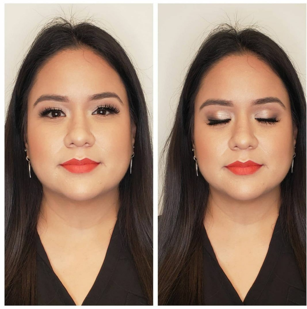 Asian girl makeup before & after Chic Cosmetique makeup & beauty services.