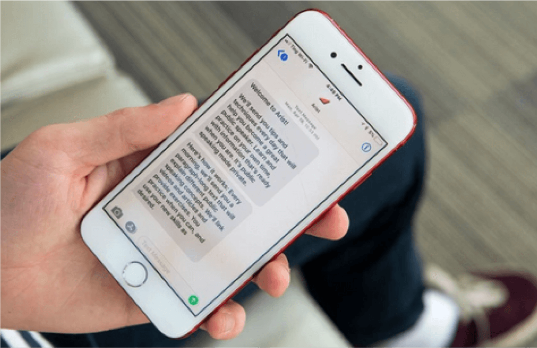 Image of someone using the Arist app on their phone