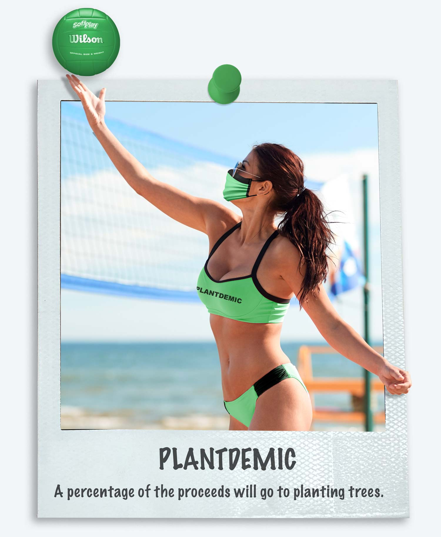 Women wearing our Plantdemic green bikini. Text states that a percentage of the proceeds from this particular bikini type will go towards planting trees.