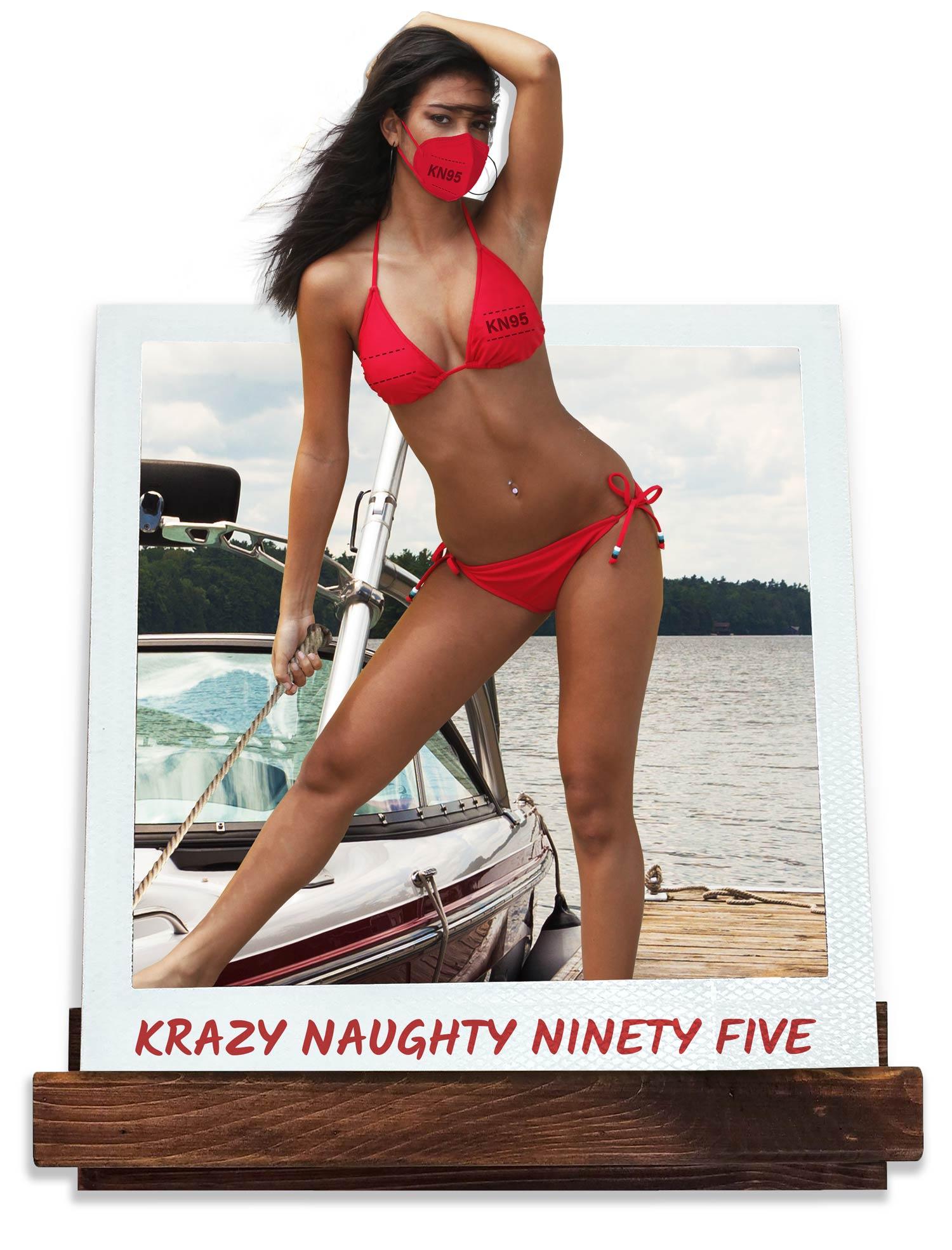Women wearing N-Ninety Fire Bikini sitting on pool ledge.