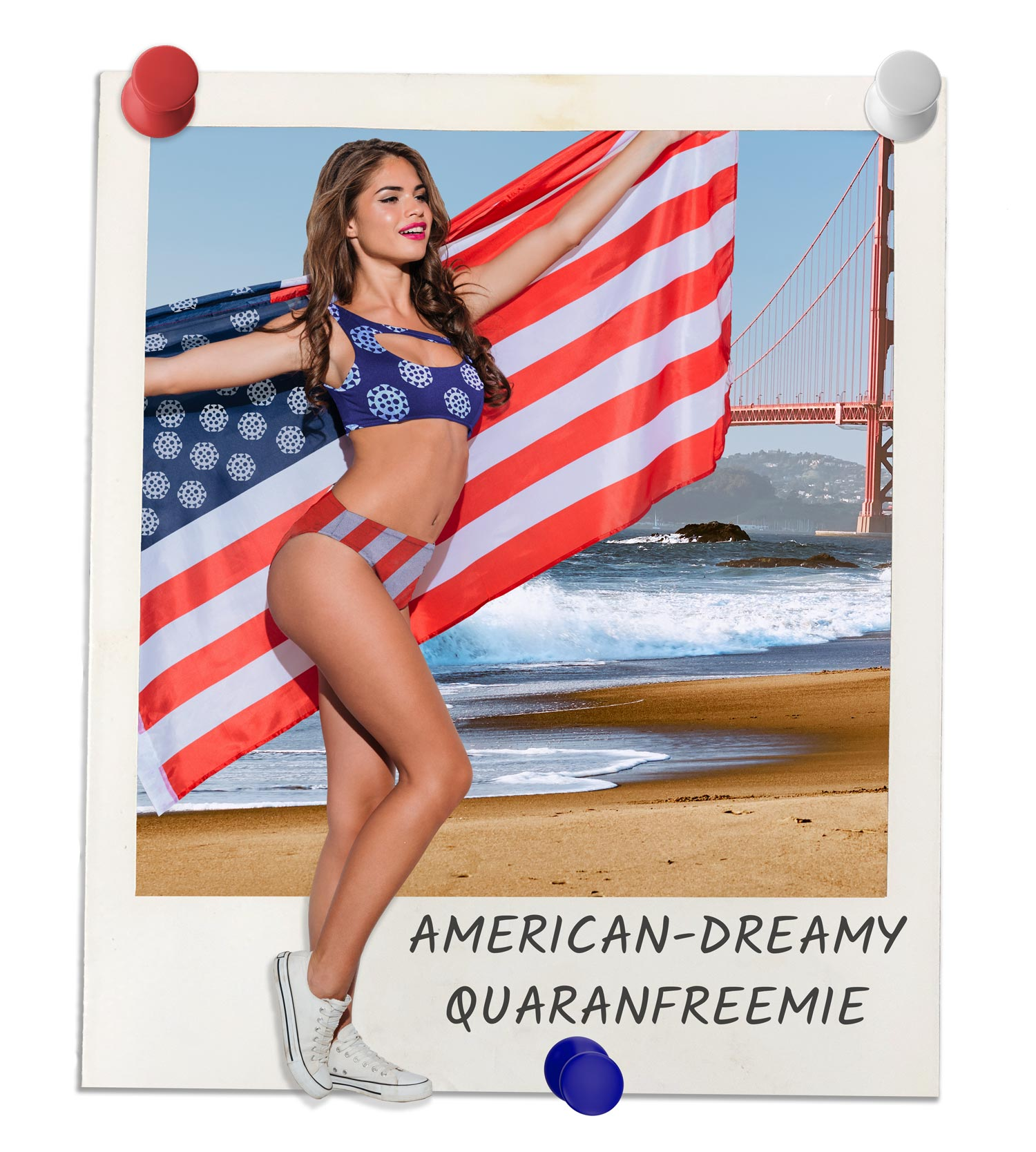 Young woman in America-themed bikini but instead of stars, there are white covid shapes. She is also wearing a PPE mask to go along with the PPE Bikini and Boardshorts theme. Polaroid also shows the title of the suit called the American-Dreamy Quaranfreemie.