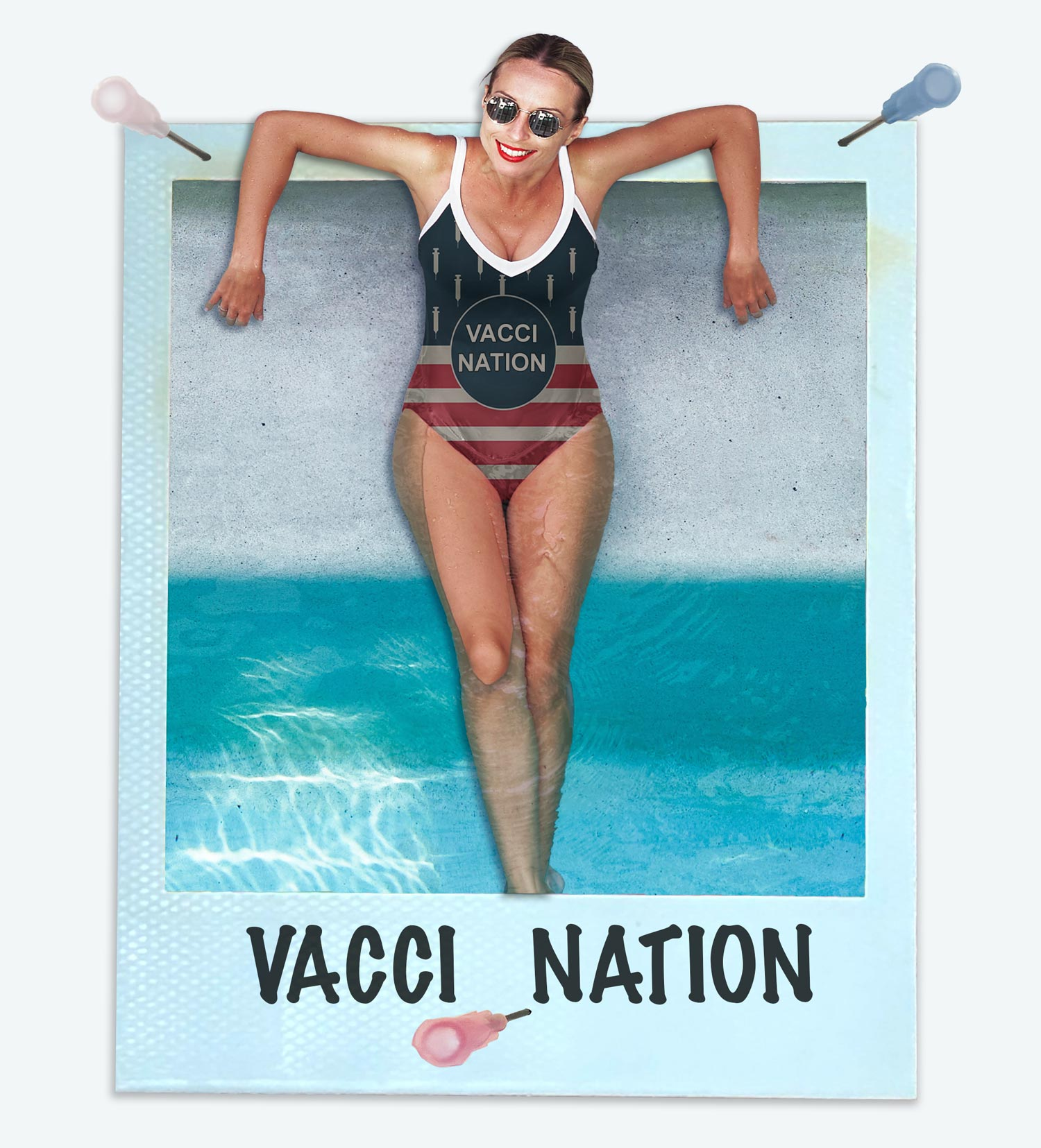 Women in a one PPiEce bikini. The style is called Vacci Nation and is America-themed with needles instead of stars.