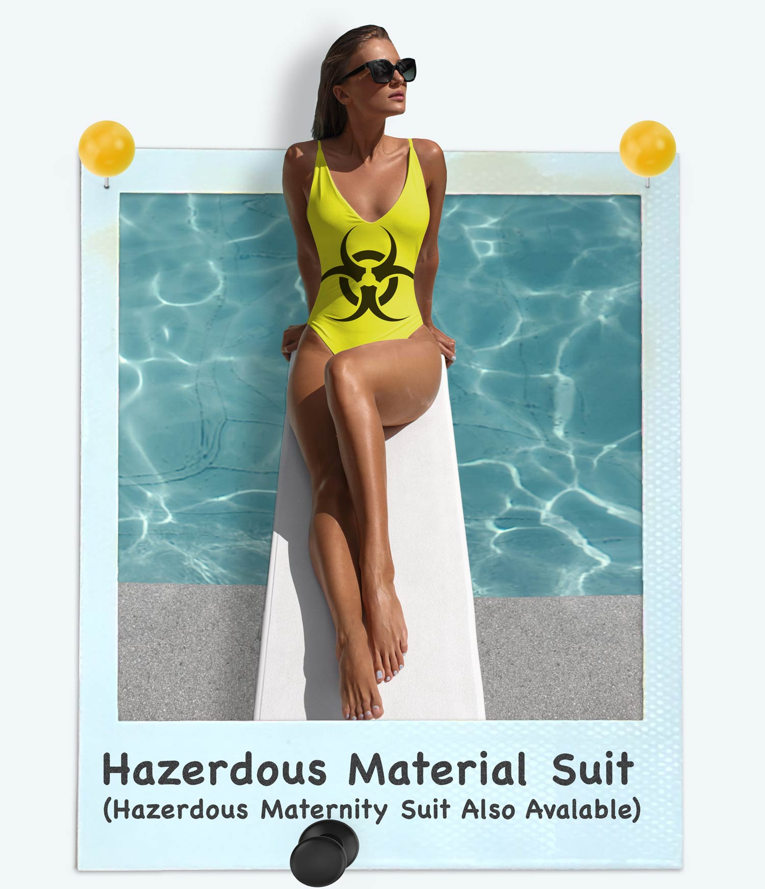 Attractive women modeling the hazardous material suit. The polaroid also has the title and states that a hazardous material suit is also available.