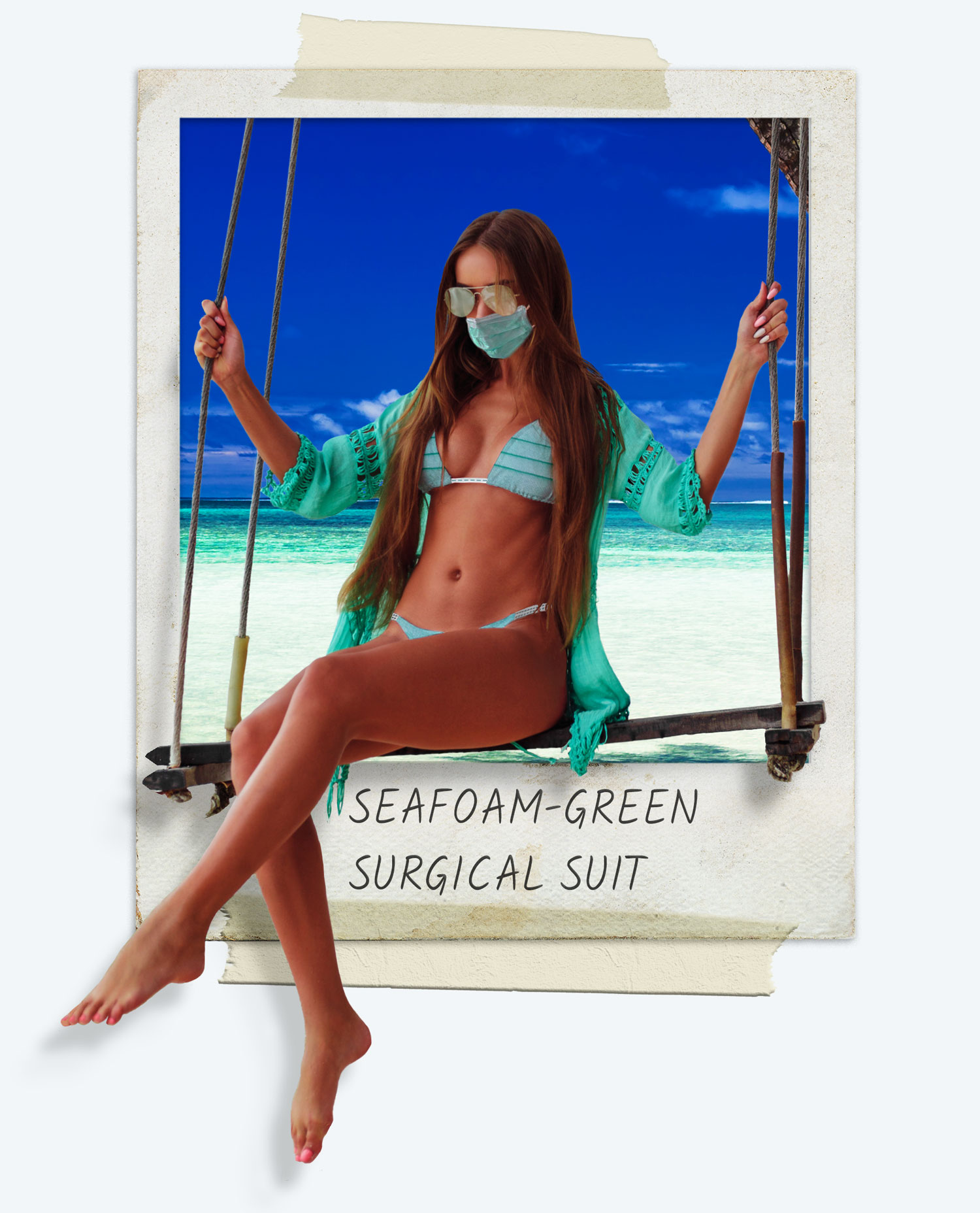 Women wearing PPE Bikini (the Seafoam-Green Surgical Swimsuit). The girl wearing the bikini is on a swim and it looks as though she is swinging out fo a polaroid.