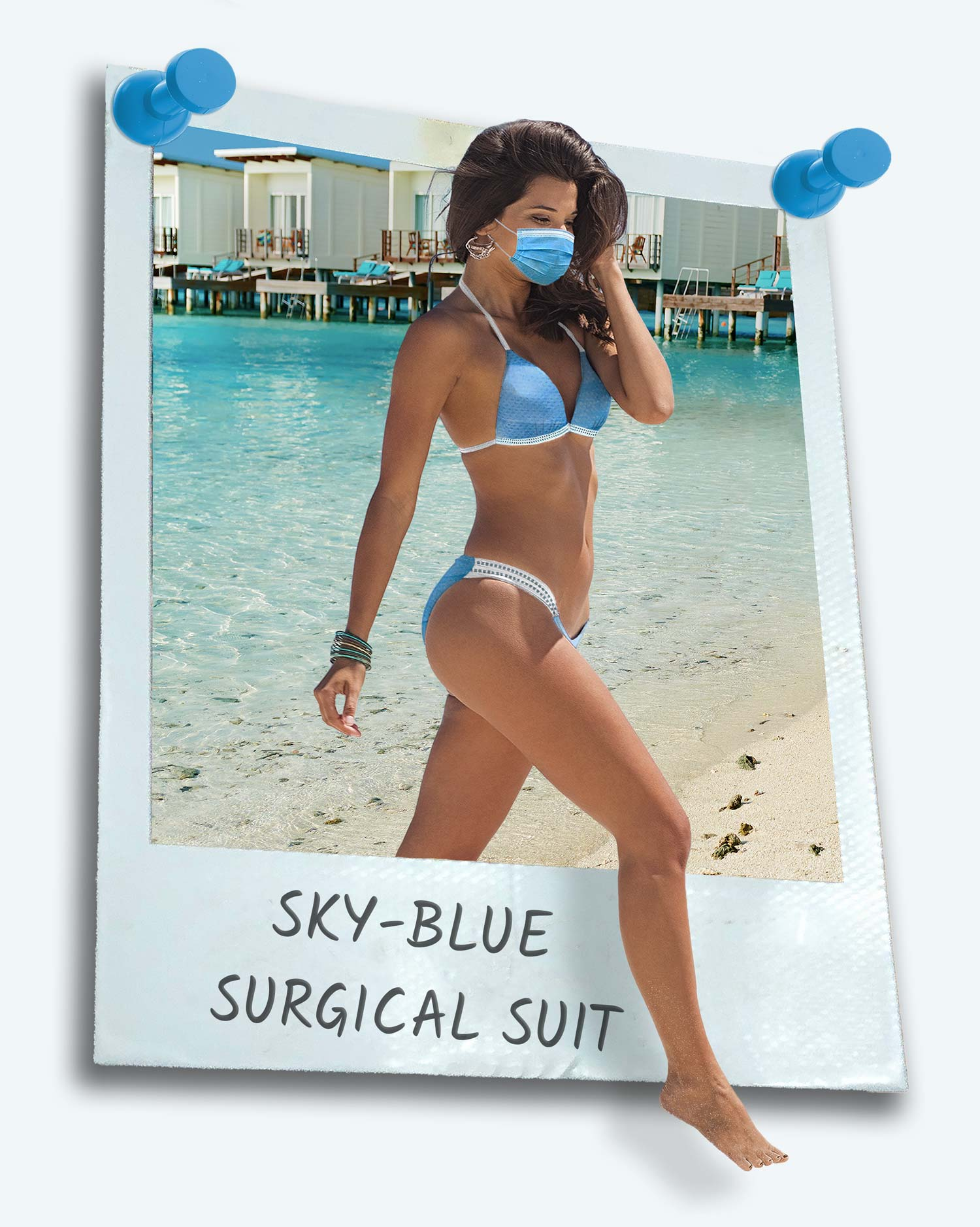 Women wearing a sky-blue surgical swimsuit. She is walking out of a polaroid and wearing a blue ppe mask to match her blue ppe bikii.