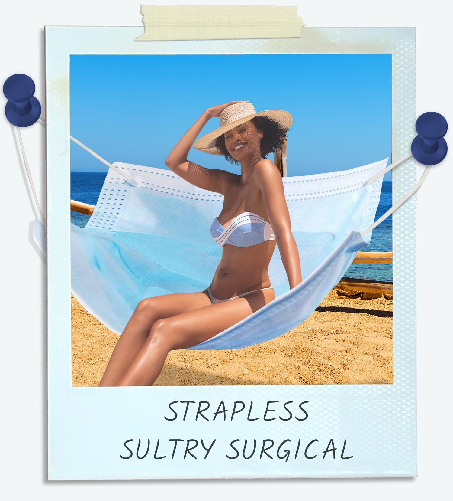 Strapless Sultry Surgical swimsuit.Women is wearing a PPE Bikini and sitting on a hammock that is also a face mask.