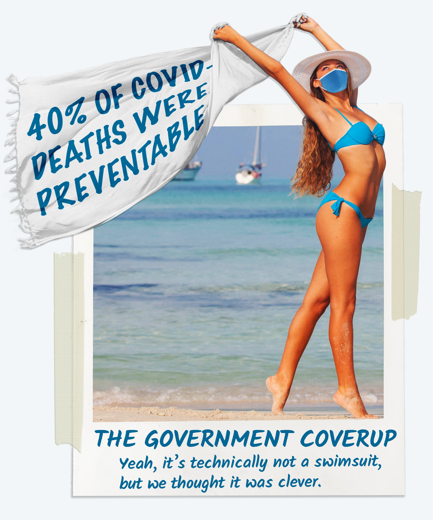 """Women holding a product called """"The Government Coverup."""" The coverup states that 40% of all Covid-19 deaths were preventable."""