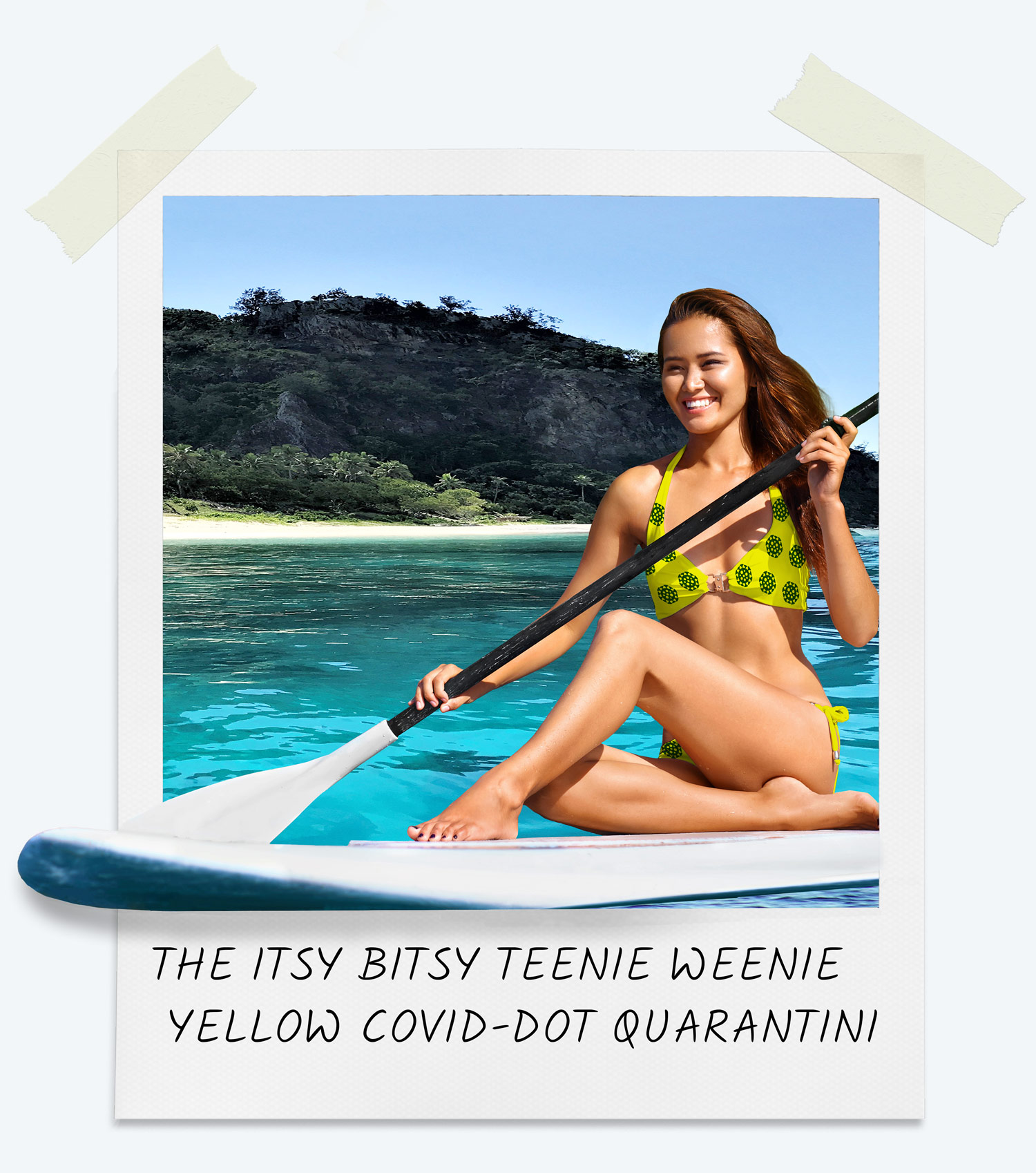 Women modeling the itsy-bitsy teenie weenie, yellow covid dot ppe bikini.