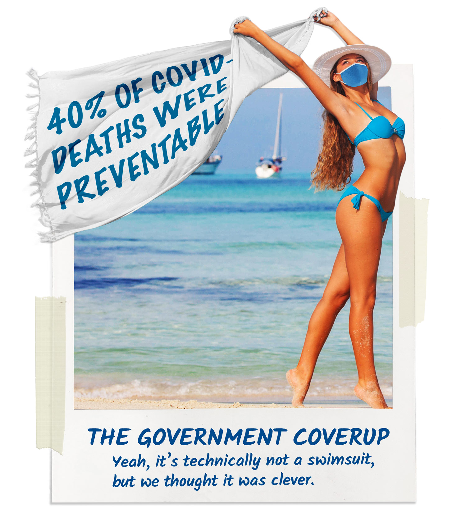 "Women holding a product called ""The Government Coverup."" The coverup states that 40% of all Covid-19 deaths were preventable."