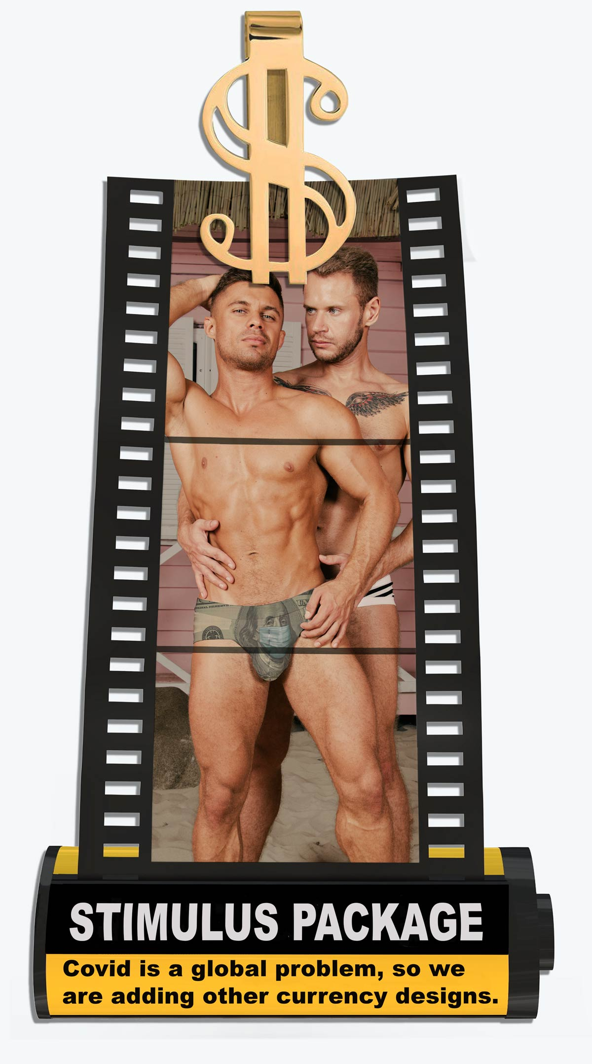 Two men wearing the Stimulus Package swimsuit which is a swimsuit that has a $100 bill with a mask as a design.