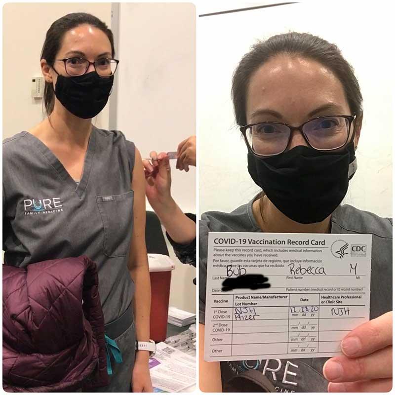 Dr Rebecca Bub getting her COVID-19 vaccine