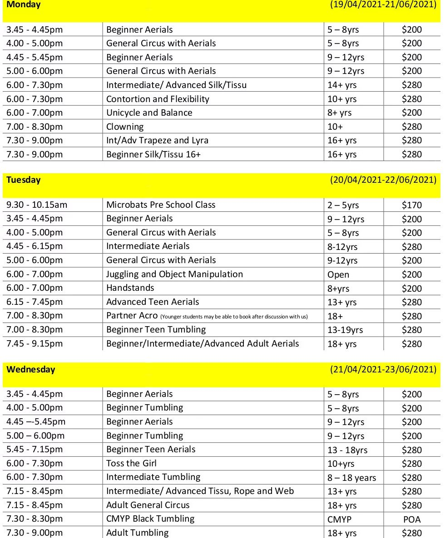Circus Monoxide class time table