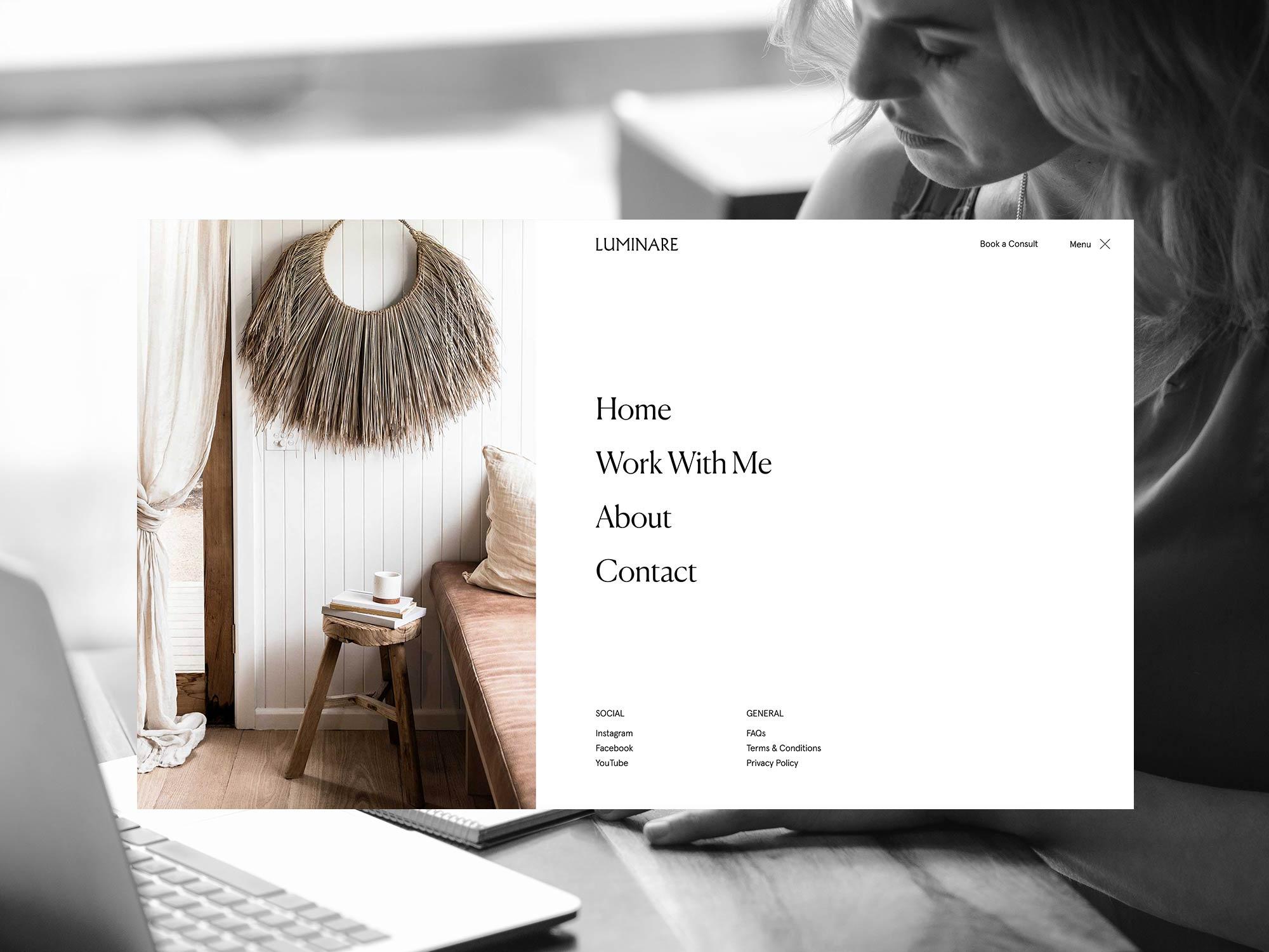 Screenshot of Luminare Web Design project.
