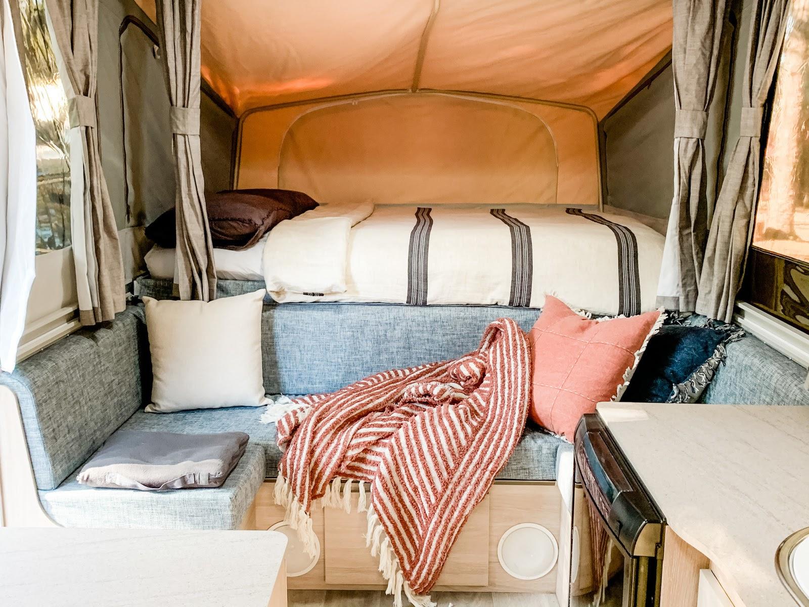 interior of Boho caravan