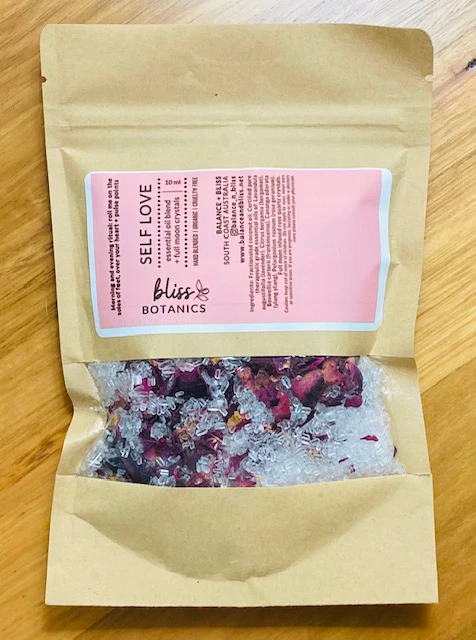 packet of self love bath soak with pink label