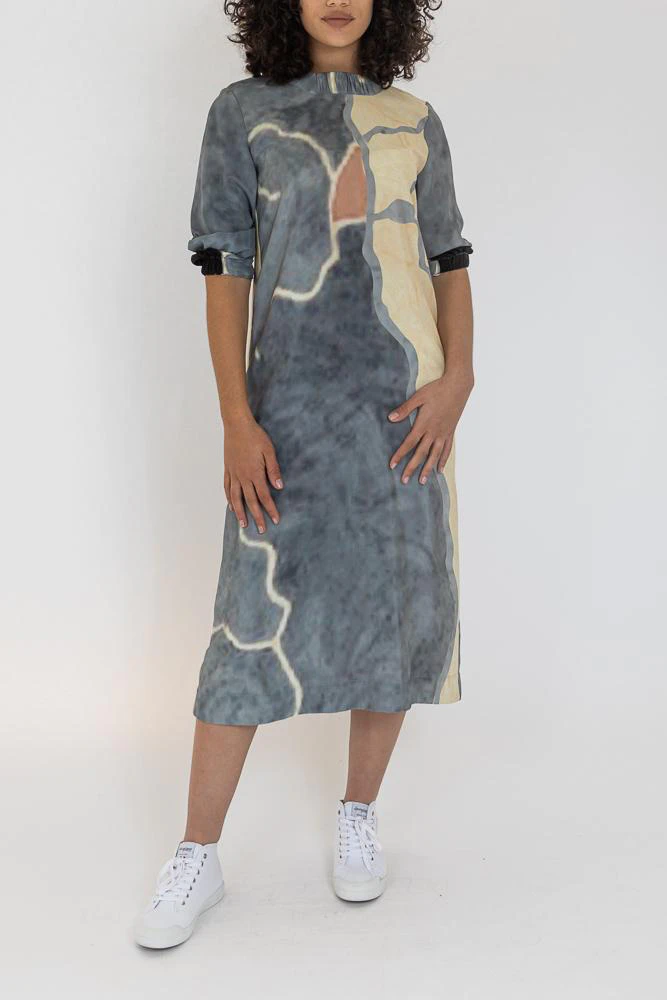 silk midi dress on model