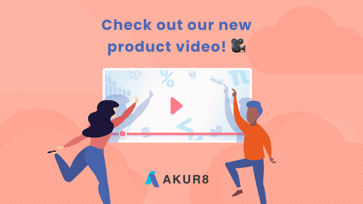 Two persons showing a big screen displaying Akur!'s video product