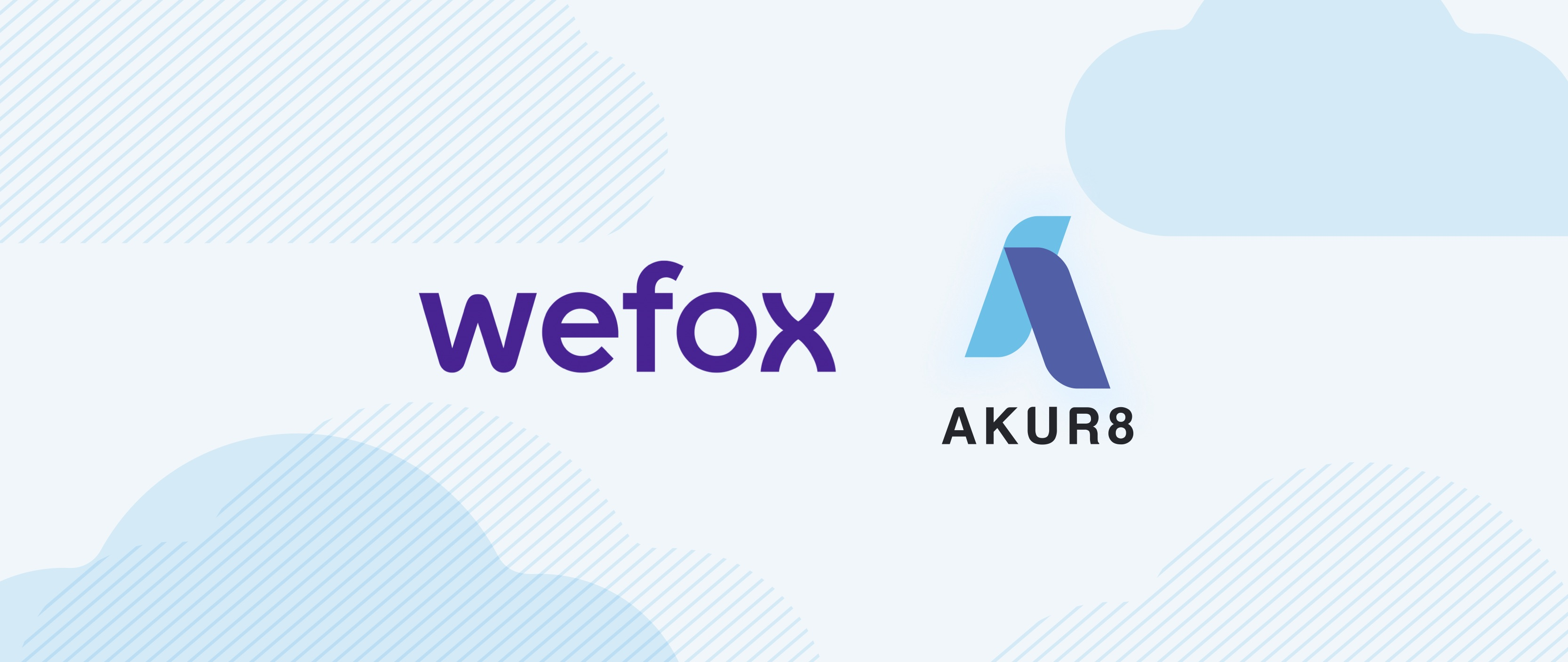 Akur8's logo and wefox's logo facing each others