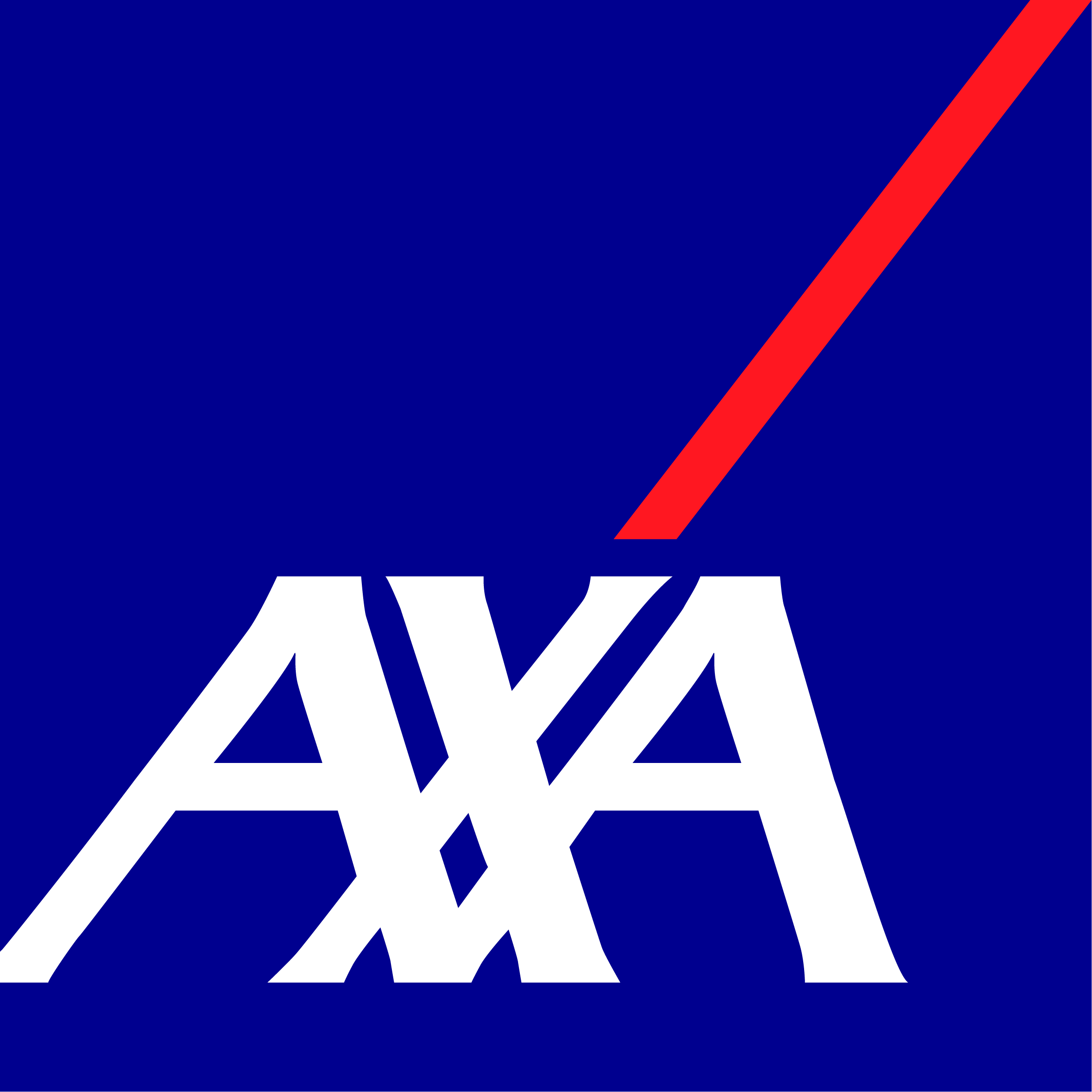 blue rectangle with AXA in wight