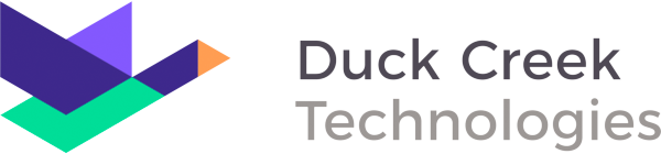 Logo of duck Creek: a green and purple goose flying