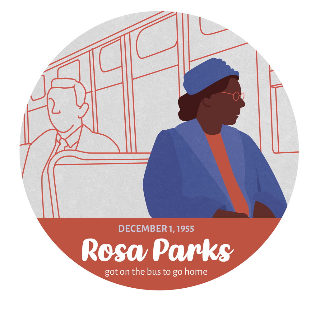 An illustration of Rosa park, with blue coat, blue hat and orange shirt, sited in a bus looking through the window;