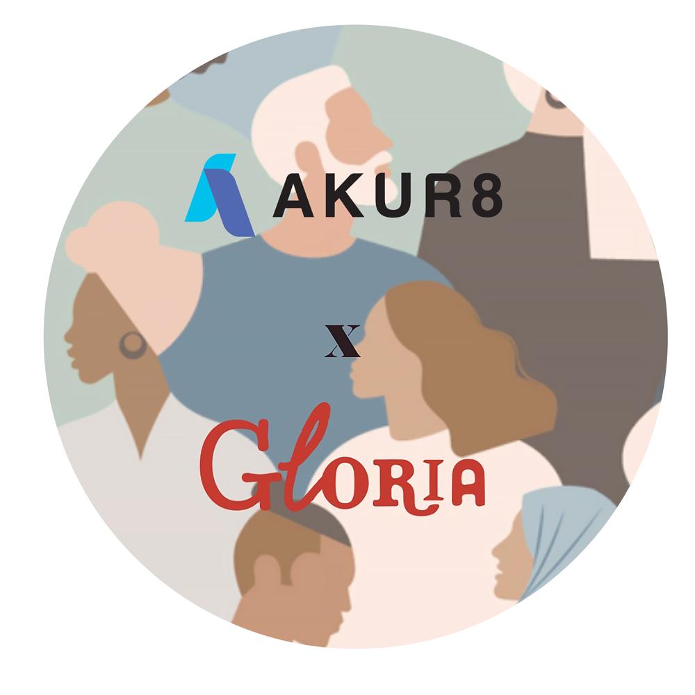 Logos of  Akur8 and Gloria