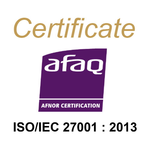 The certificate afaq, and Afnor certification. ISO/IEC 27001 : 2013