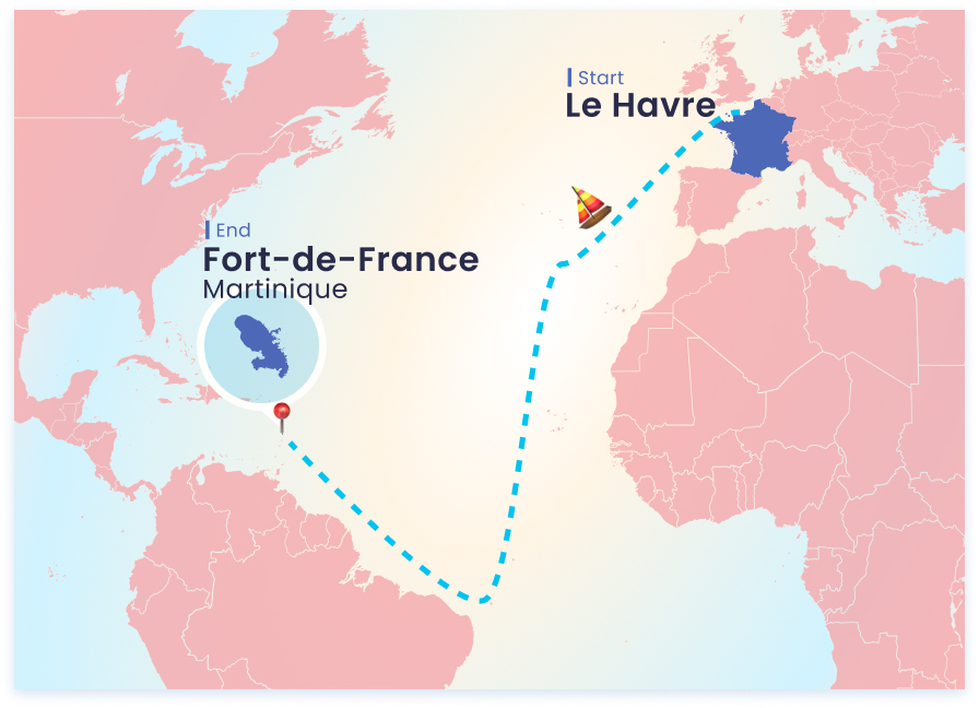 A piece of world's map showing the route of the Transat Jacques Vabre. The start is in France, Le Havre and the end at Martiniqe.