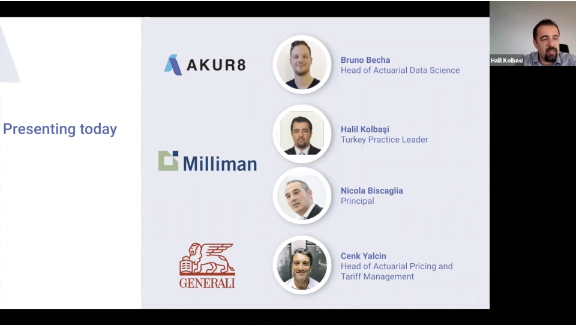 A screenshot of the Akur8, Milliman and Generali webinar with a slide of the presentation displayed, showing the participants
