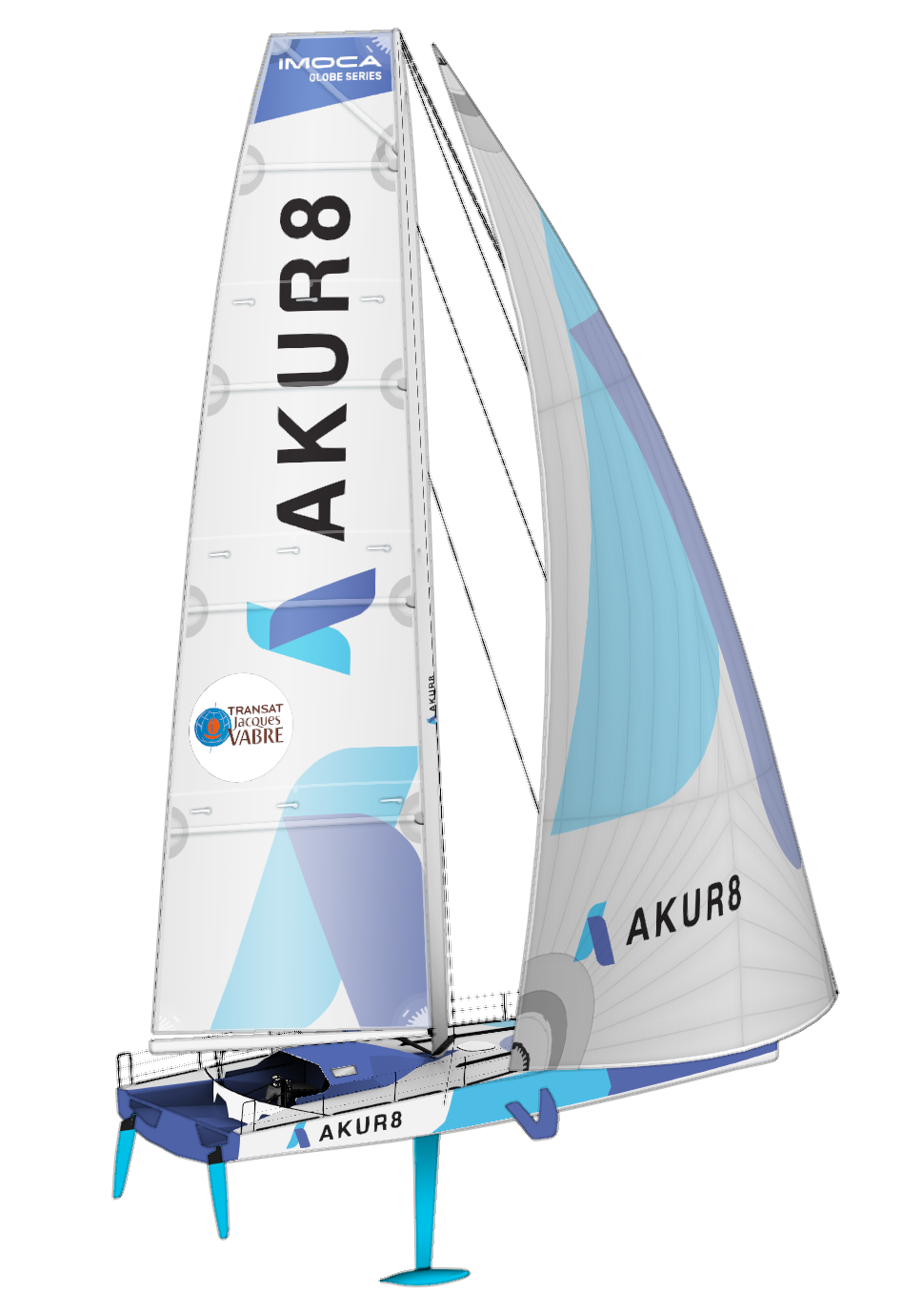 the IMOCA Akur8 for the Virtual Regata. A boat with a  white and blue sail