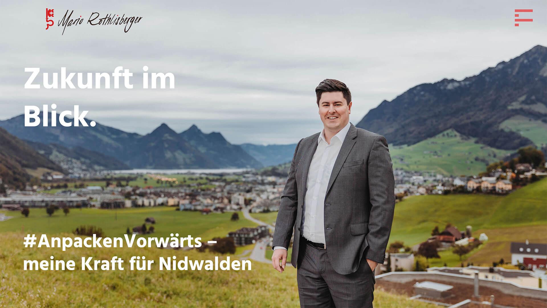 Veranschaulichung der Website des Politikers Mario Röthlisberger