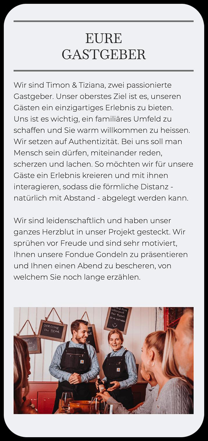 Screenshot der Website www.fonduegondeln.ch