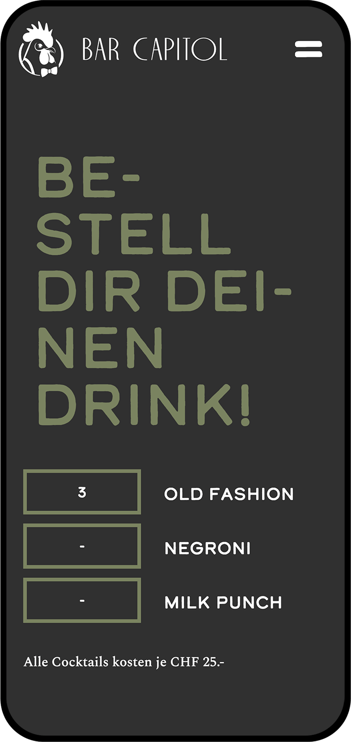 Screenshot der Website www.barcapitol.ch