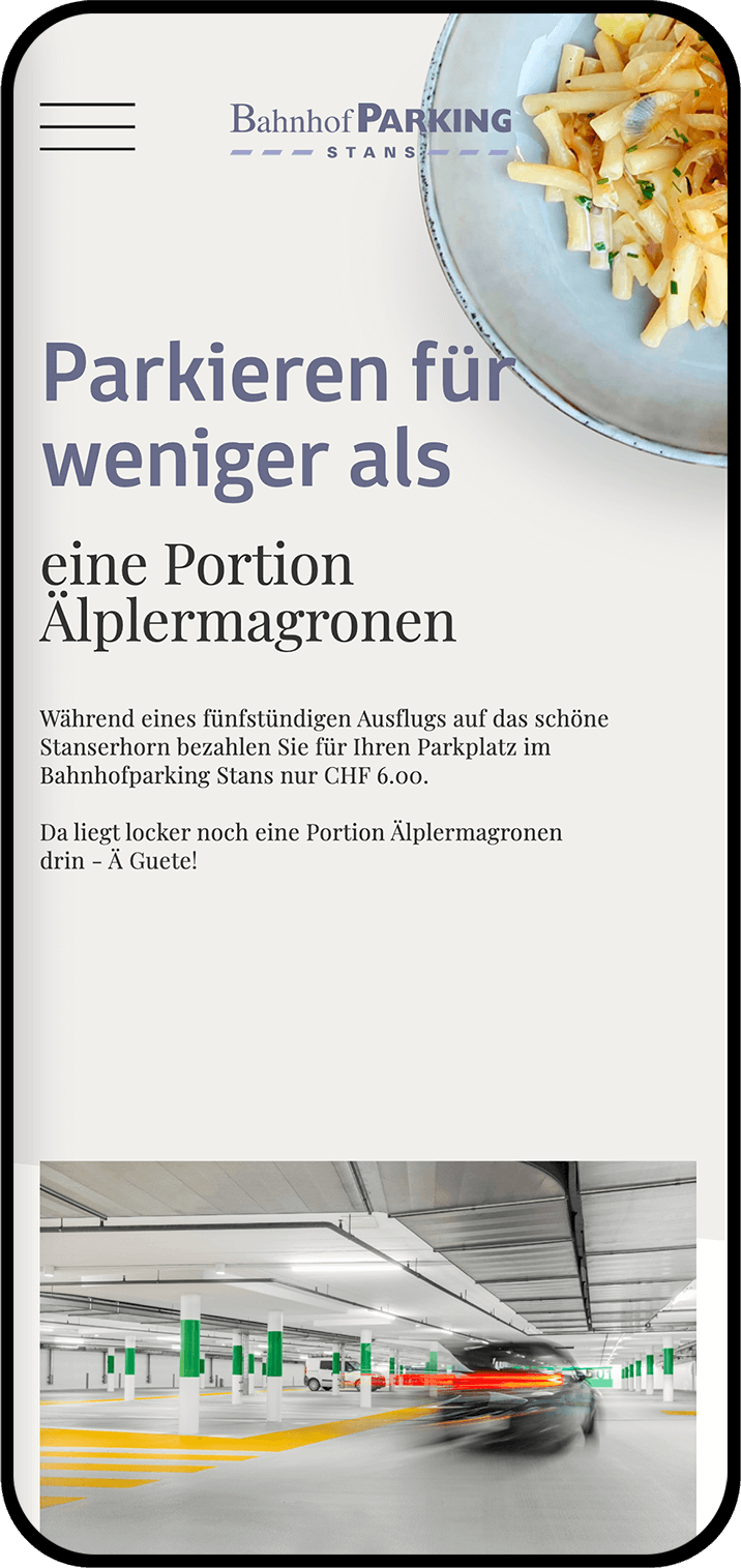 Screenshot der Website www.bahnhofparkingstans.ch