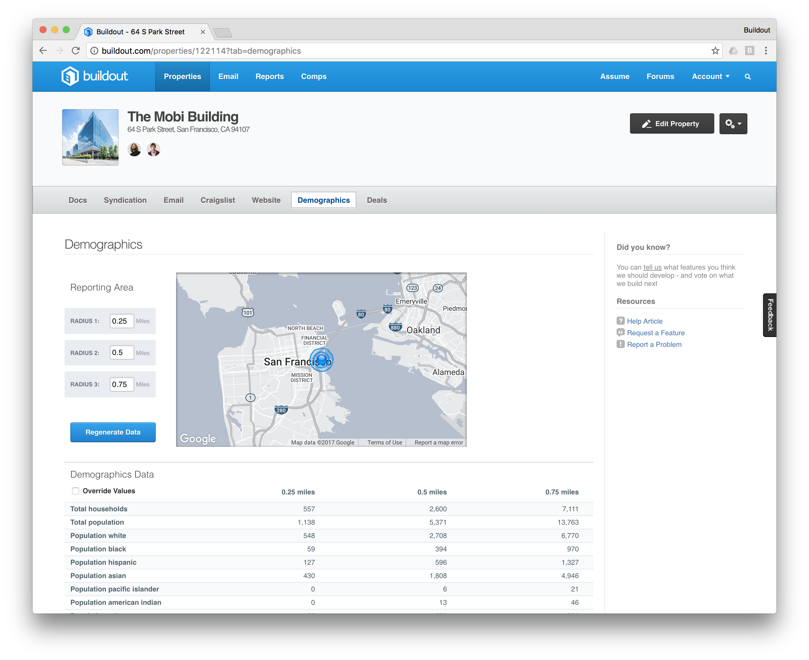 """Navigate to the """"Demographics"""" tab on Buildout to modify your reporting radius."""