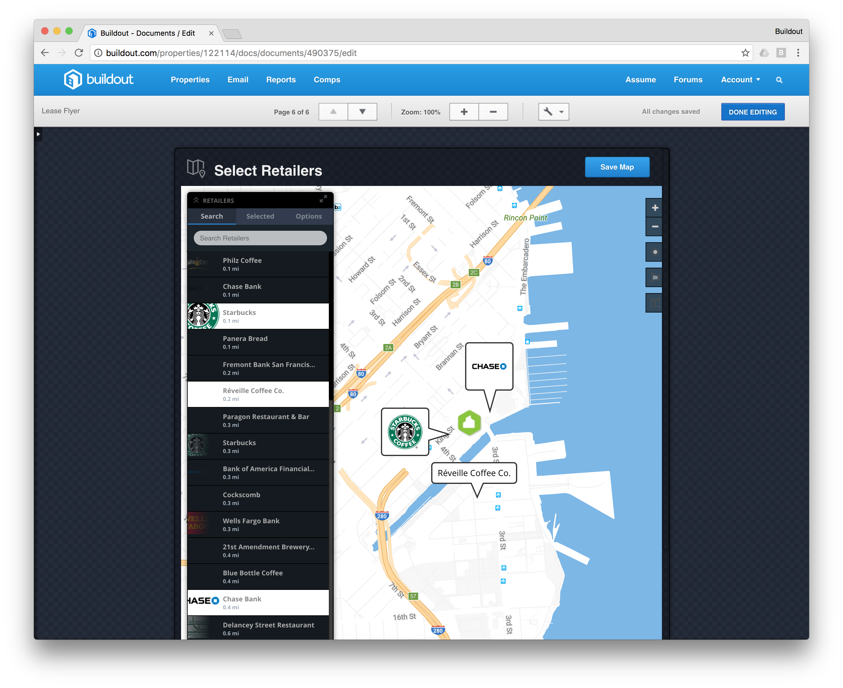 Search retailers around your property and add them to your retailer maps.