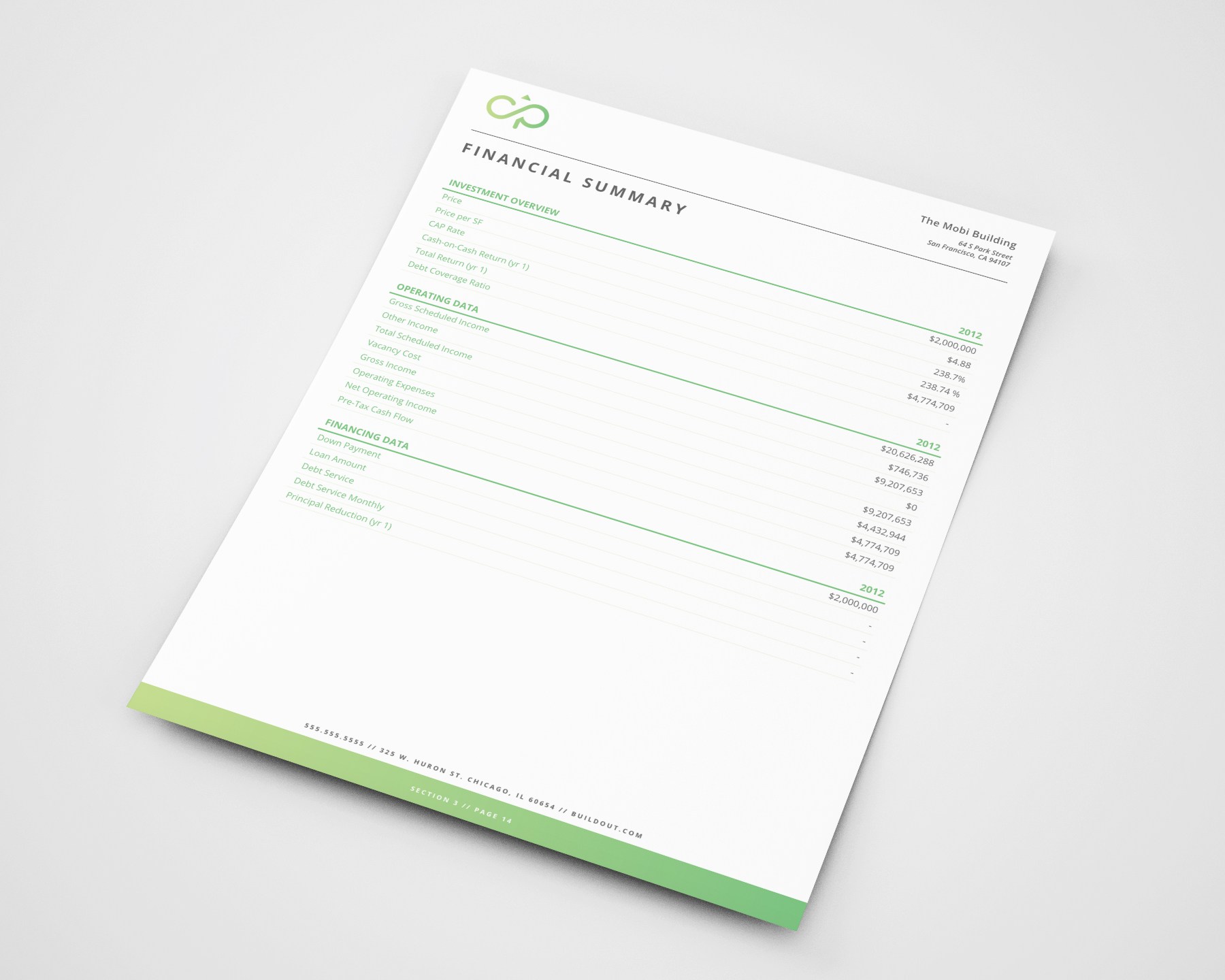 An example Financial Summary page from a proposal created in Buildout
