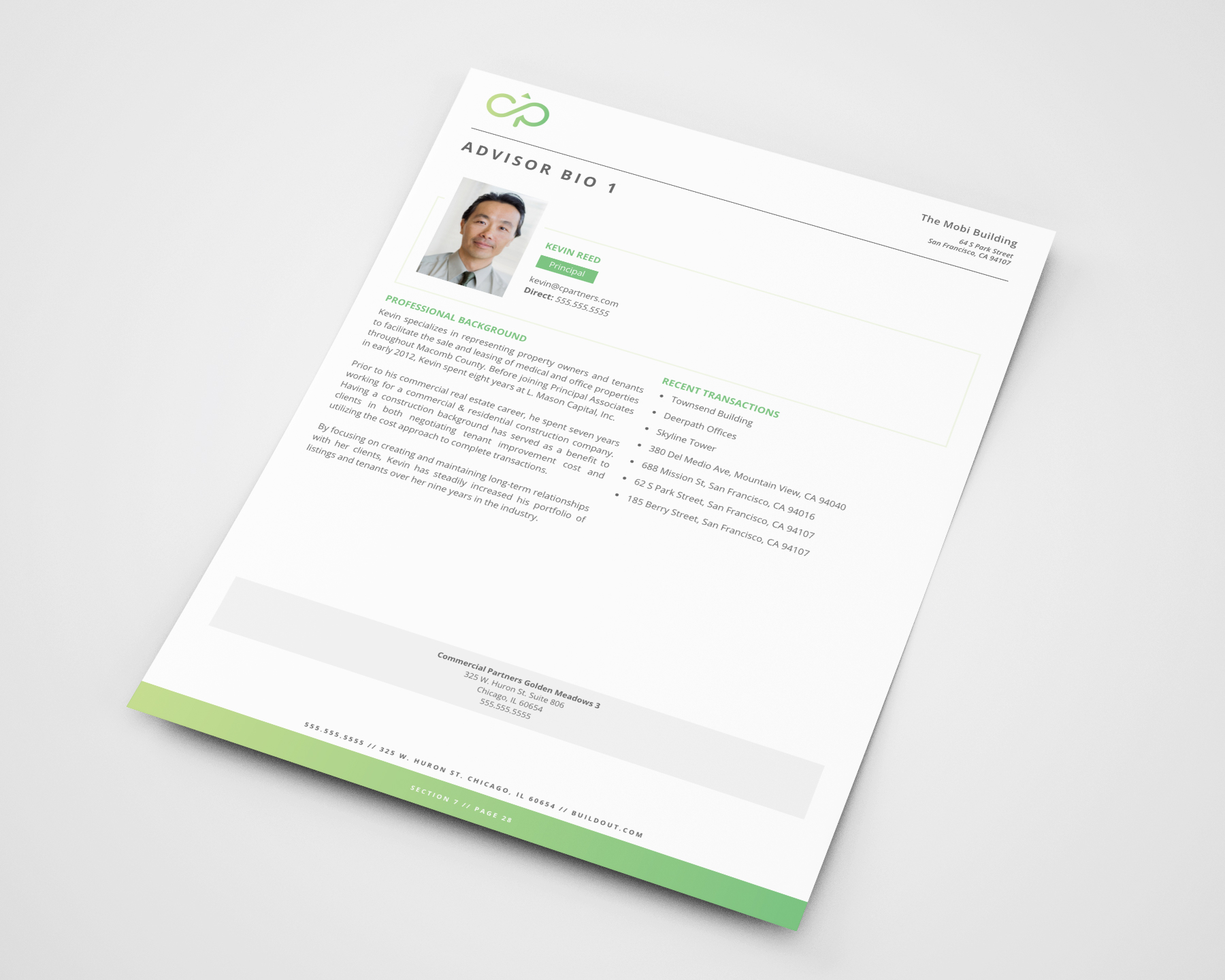 An example Advisor Bio page from a proposal created in Buildout