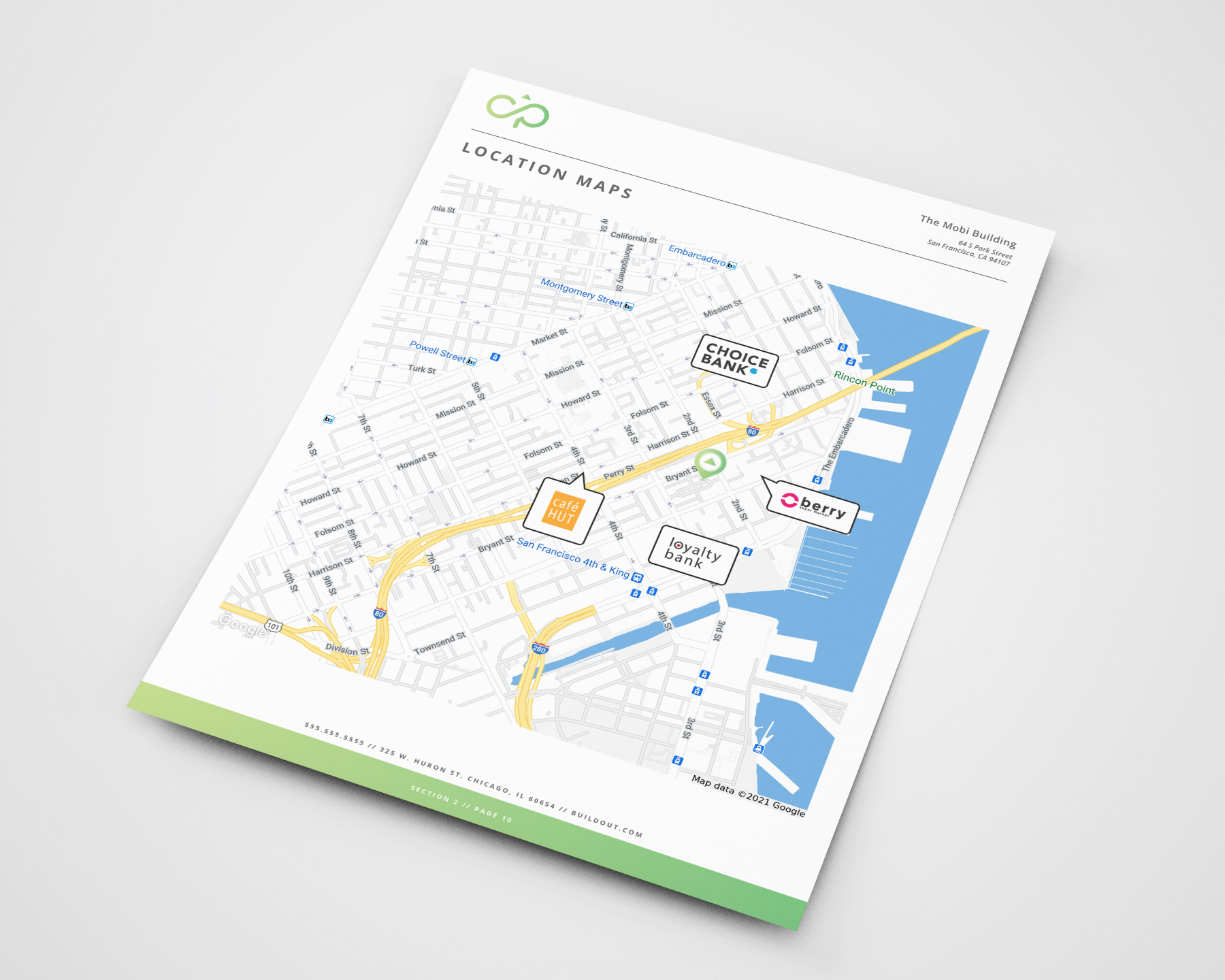 An example Retailer Map page from a proposal created in Buildout
