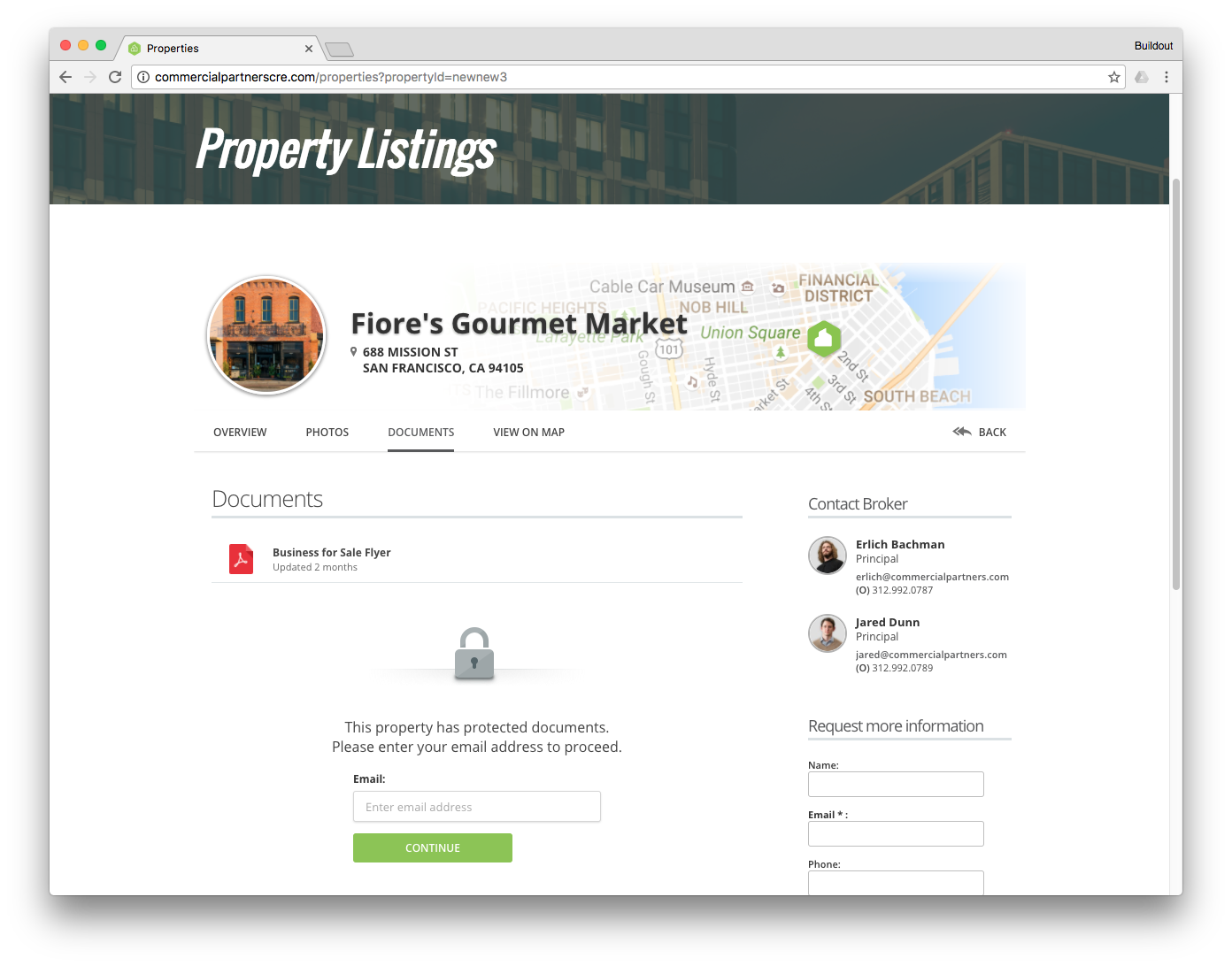 Use Buildout's document vaults to house all of your property's most important information, collect leads and execute CAs.