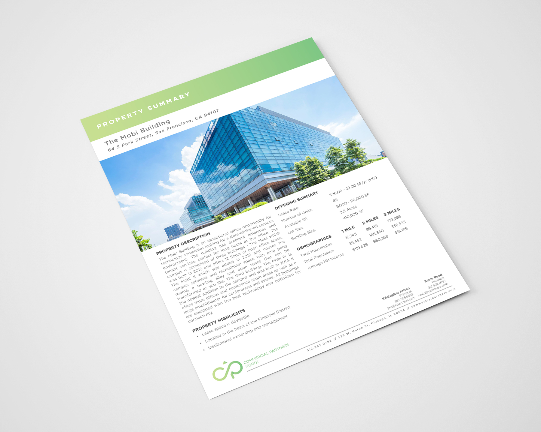 Example of a commercial real estate flyer