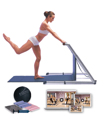 Woman on a Fluidity Barre with Accessories kit