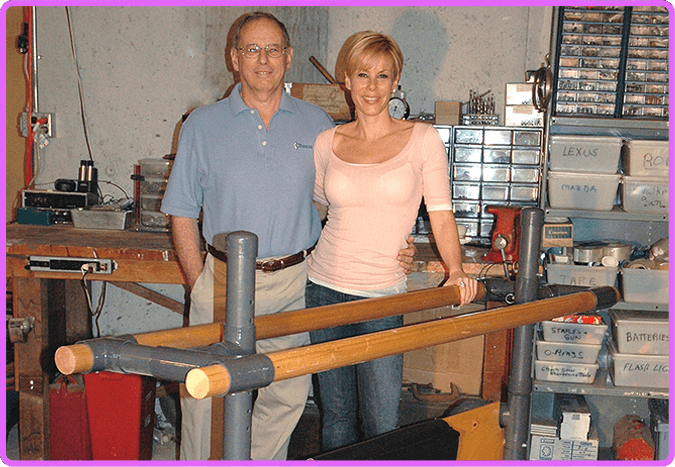 Michelle Austin with her dad and the first Fluidity Barre prototype