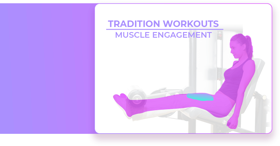 Muscle engagement of woman on leg extension machine.