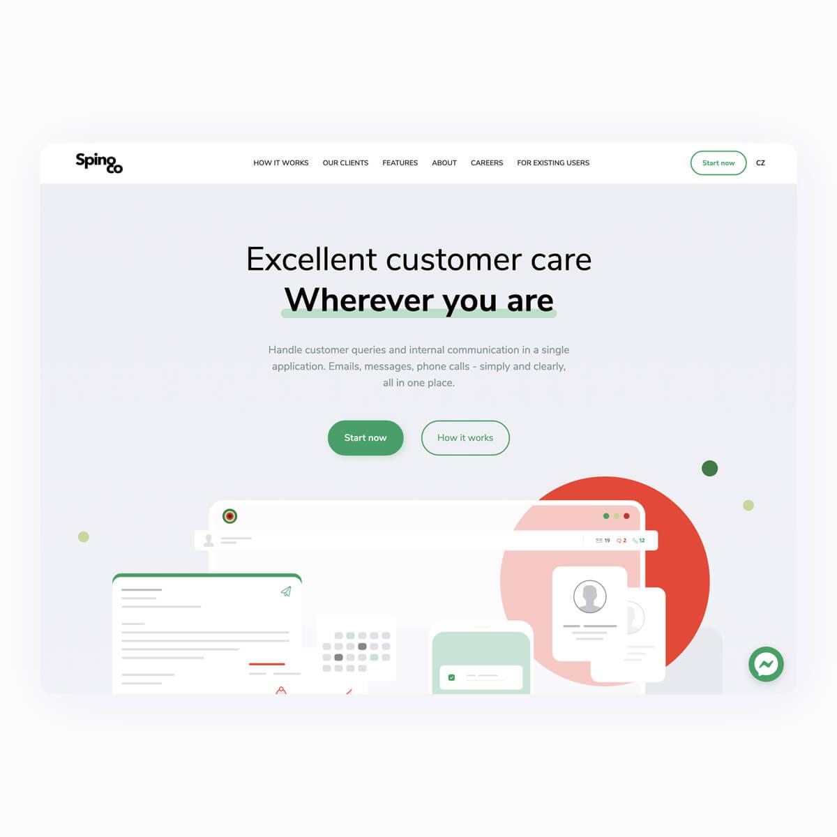 Webová prezentace produktu Spinoco