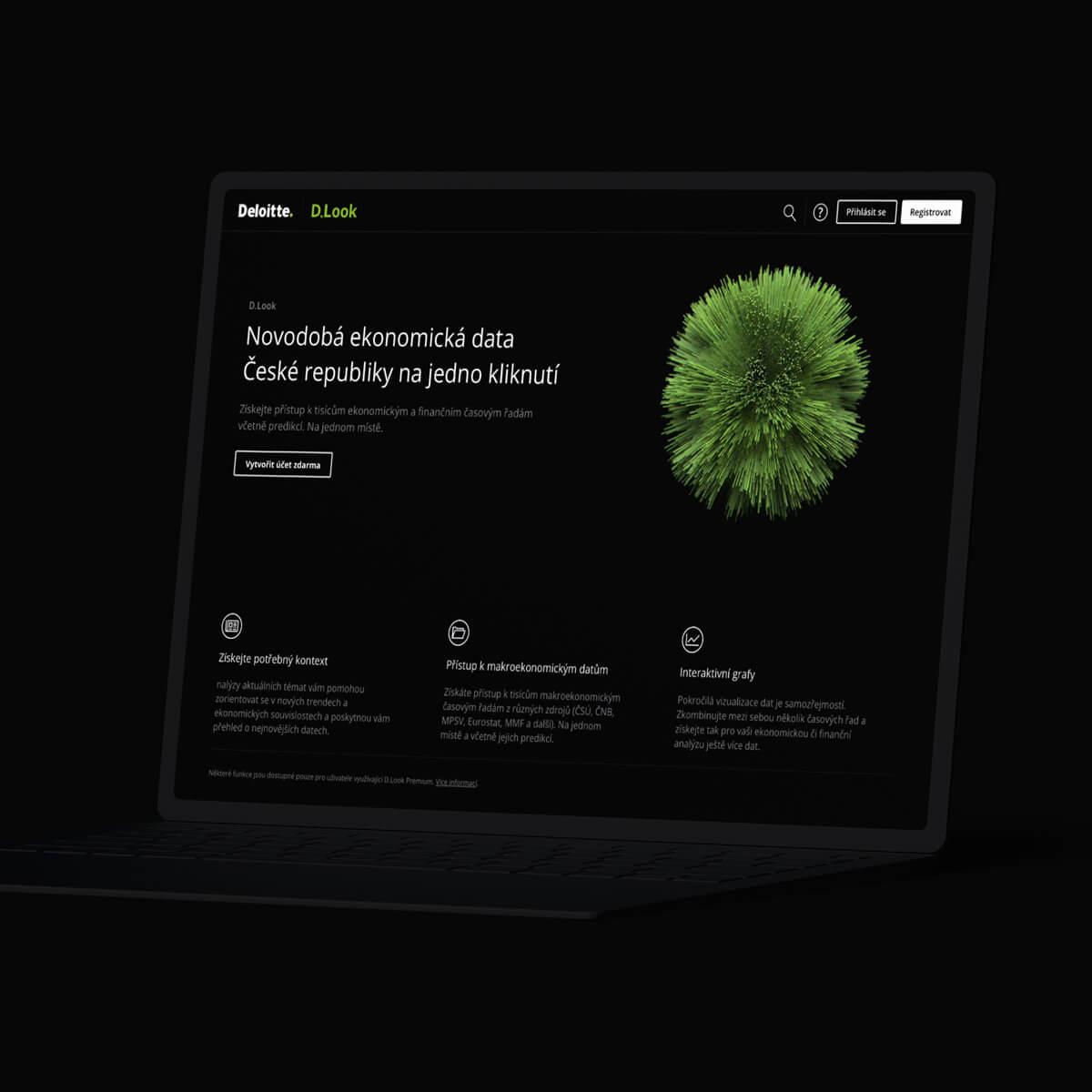 Ukázka webu na laptopu