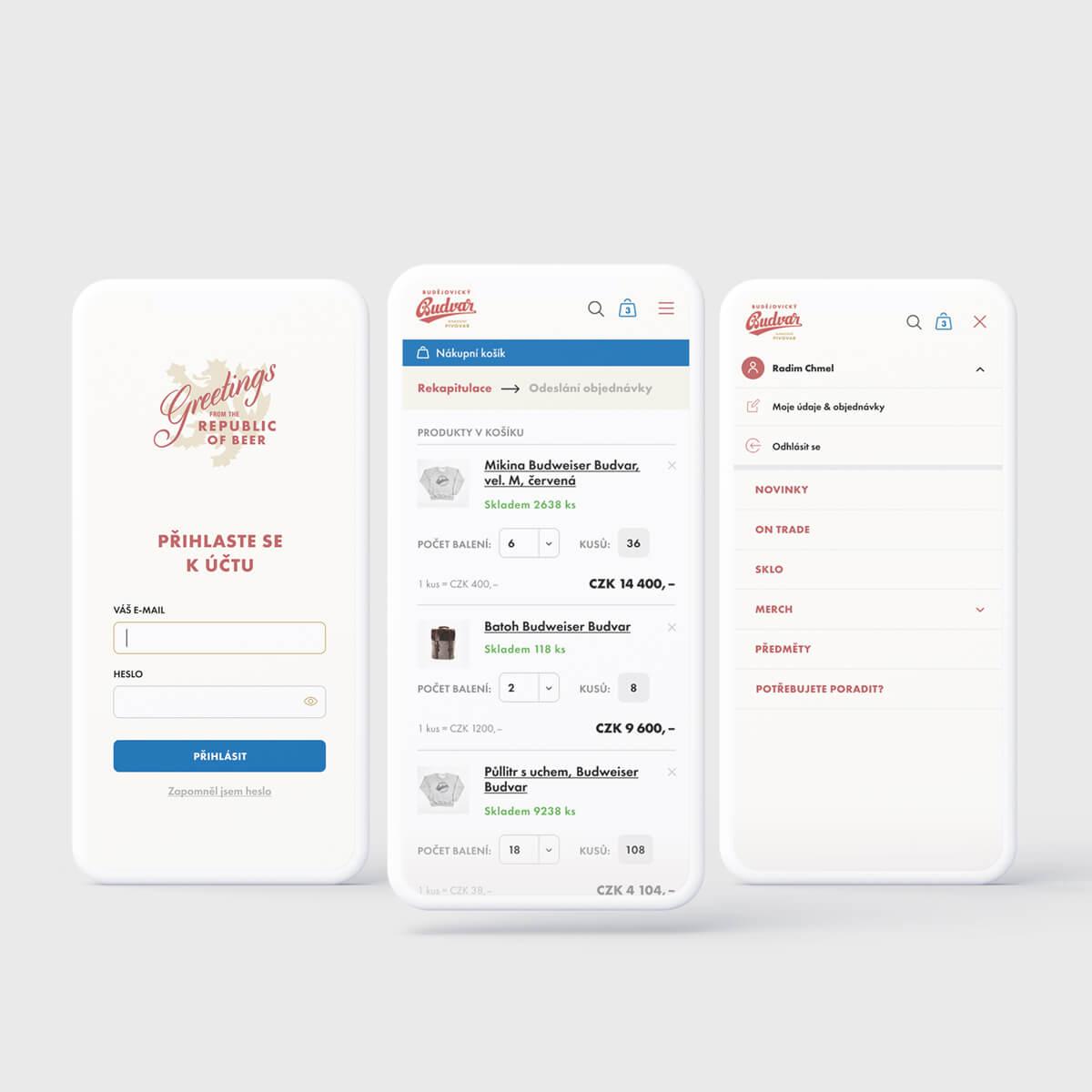 Mobile design of the e-shop